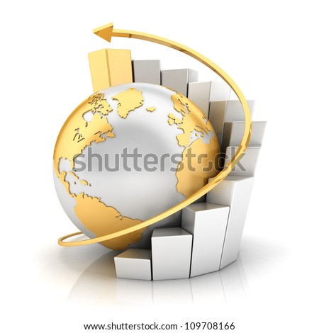 3d business earth with bar chart and gold arrow , isolated white background, 3d image - stock photo