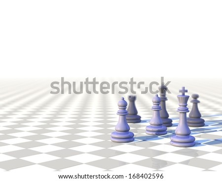 3d business elegant background with chess pawns and depth of field, light illustration with white copy space - stock photo