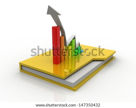 3d Business graph and chart in folder - stock photo