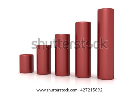 3d Business graph on white background