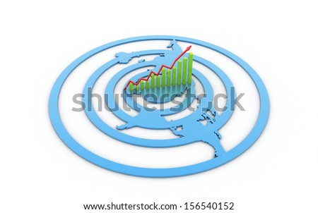 3d business graph with bevel world map isolated on white background - stock photo