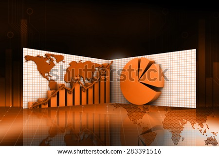 3d business graph with pie diagram in color background - stock photo
