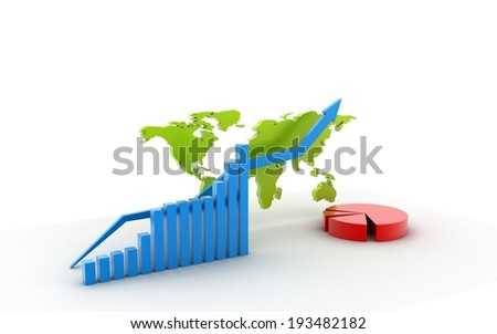 3d business graph with pie diagram isolated on white background - stock photo