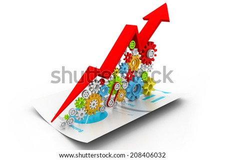 3d Business growth chart and gear - stock photo