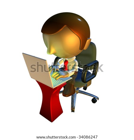 3d business man character sitting in office chair with laptop at desk - stock photo