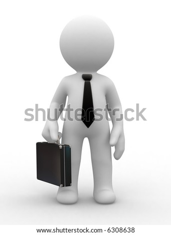 3d business man hold a black briefcase - stock photo
