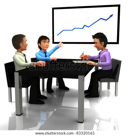 3D Business man in meeting watching a growth graph - isolated over a white background - stock photo
