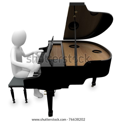 3d business man is playing piano - stock photo