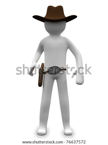 3D business man is wearing a cowboy hat - stock photo