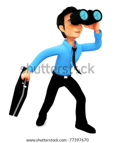 3D business man looking through binoculars at a far distant success - there are column graphs on the reflections of the lenses - stock photo