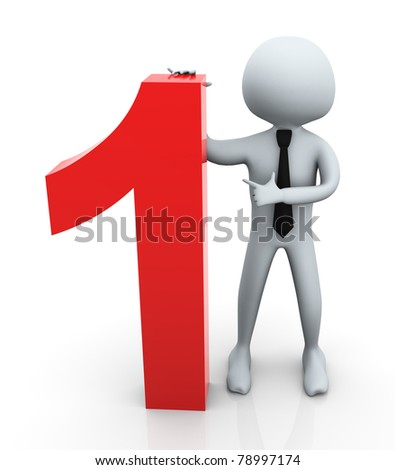3d business man standing and pointing to no. 1 business - stock photo