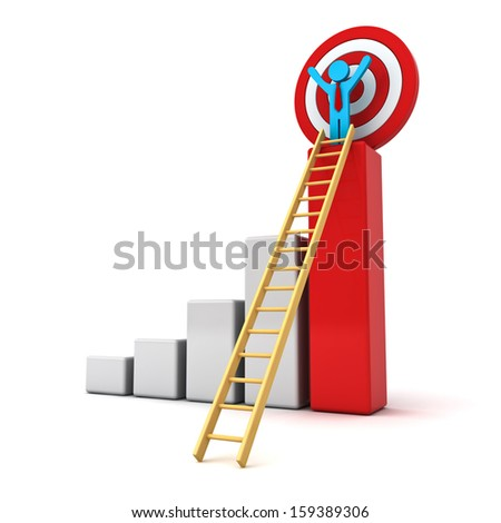 3d business man standing with arms wide open on top of growth business red bar graph with wood ladder and target behind isolated over white background, business concept - stock photo