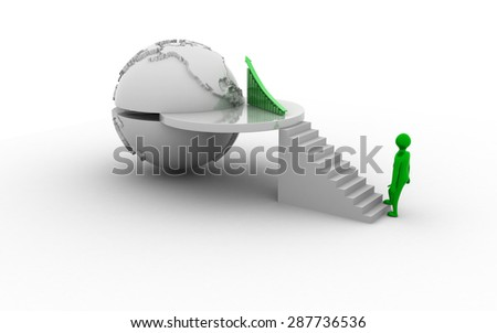 3d business man stepping up to his successful business growth - stock photo