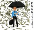 3D business man under a dollar rain holding an umbrella - isolated - stock photo
