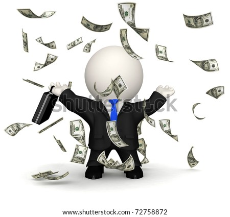 3D business man under a dollar rain - isolated over a white background - stock photo