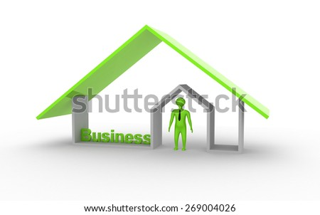 3d business man under the house - stock photo