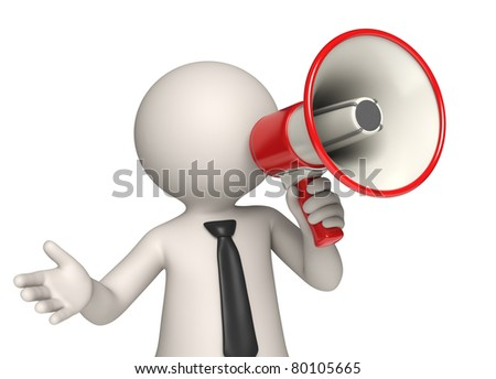 3d business man (Virtual Vito) speaking through a red megaphone - Isolated - stock photo