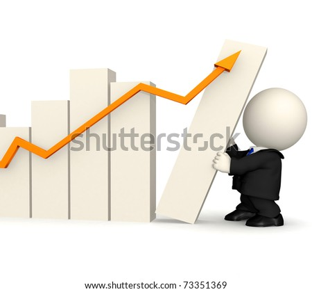 3D business man with a growth graph ? isolated over white - stock photo