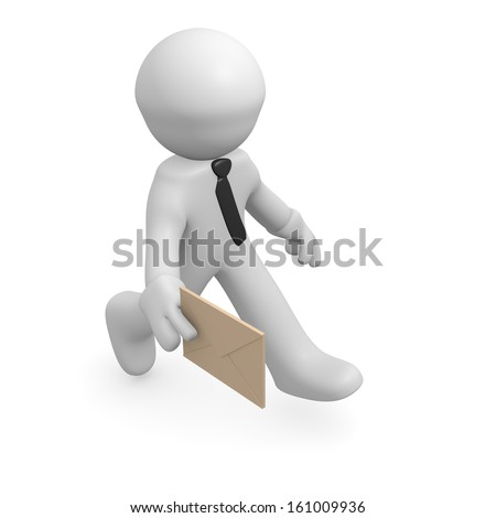 3d business man with an envelope