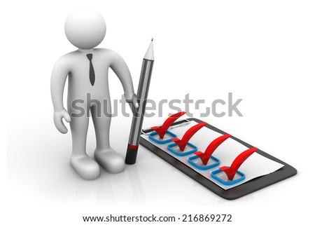 3d business man with check list  - stock photo