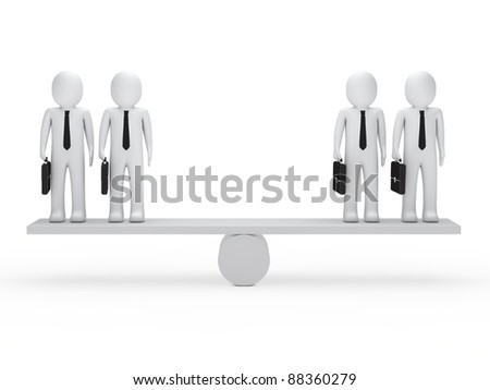 3d business men briefcase balance on seesaw - stock photo