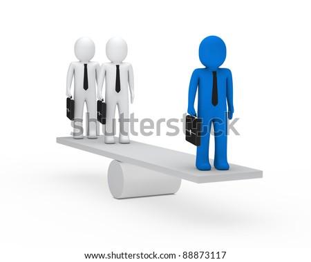 3d business men briefcase blue balance seesaw - stock photo
