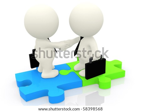 3D business men closing a deal standing on puzzle pieces isolated over a white background