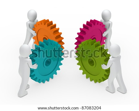 3d business men push a gear colorful - stock photo