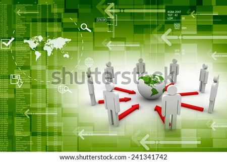 3D  Business Network - stock photo