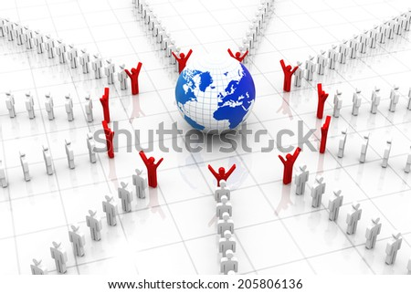 3d business people around the world - stock photo