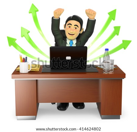 3d business people. Businessman in his office. Success. Green arrows. Isolated white background. - stock photo