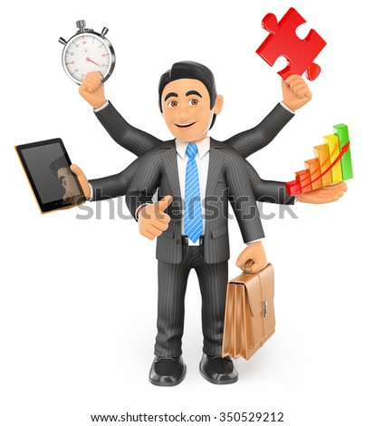 3d business people. Businessman multitasking concept with stopwatch tablet bar graph puzzle piece briefcase and thumb up. Isolated white background. - stock photo