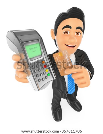 3d business people. Businessman paying with a credit card in a bank terminal. Isolated white background. - stock photo