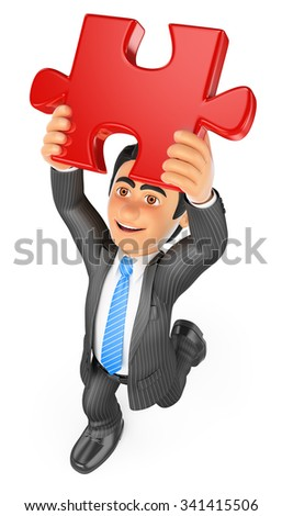 3d business people. Businessman putting a red puzzle piece. Solution. Isolated white background. - stock photo