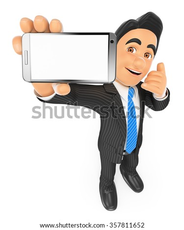 3d business people. Businessman showing a mobile phone with blank screen. Isolated white background. - stock photo