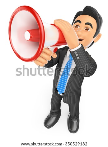 3d business people. Businessman talking through a megaphone. Isolated white background.