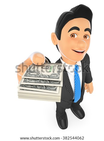 3d business people. Businessman with dollar bills. Isolated white background. - stock photo