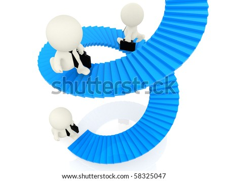 3D business people climbing blue stairs isolated on white - stock photo