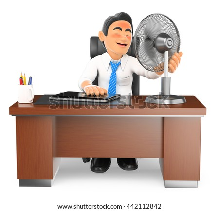3d business people illustration. Businessman heated in his office with a fan. Isolated white background. - stock photo