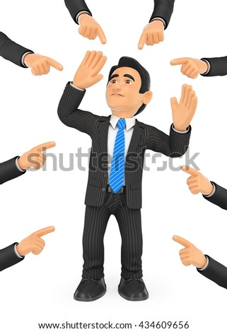 3d business people illustration. Businessman pointed out by many fingers. Isolated white background. - stock photo