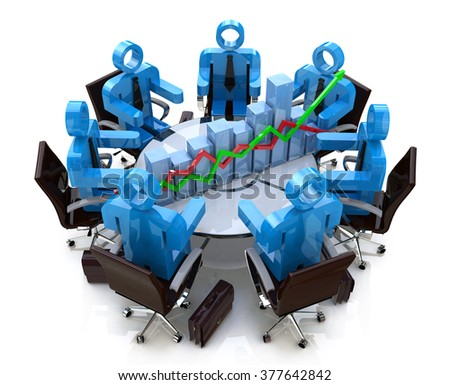 3d business people in a meeting at a round table and financial chart - diagram in the design of information related to communications in business - stock photo