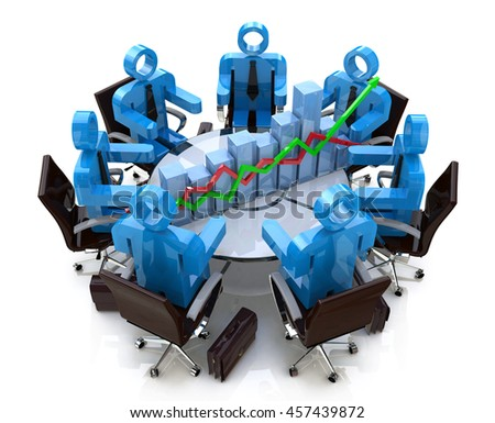 3d business people in a meeting at a round table and financial chart - diagram in the design of information related to communications in business. 3d illustration - stock photo