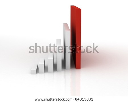 3d business statistics in white background with reflection on floor - stock photo