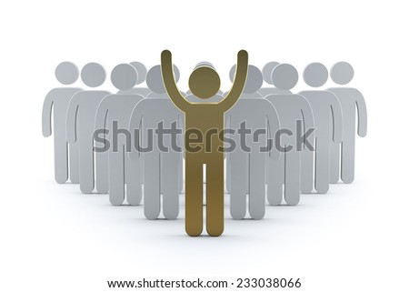 3d business team with gold leader man. success teamwork concept 3d render illustration  - stock photo