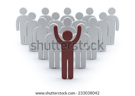 3d business team with red leader man. success teamwork concept 3d render illustration  - stock photo