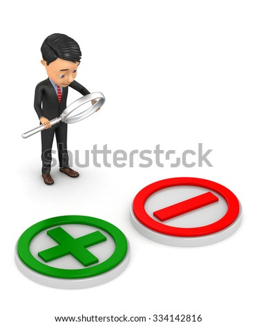 3d businessman analyzes the pros and cons - stock photo