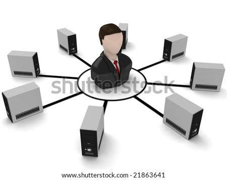 3D businessman and cpu with white background - stock photo