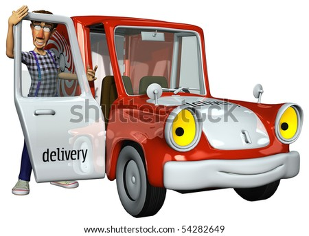 3d businessman courier beside the car looking at - stock photo