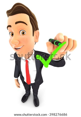 3d businessman drawing positive check mark, illustration with isolated white background