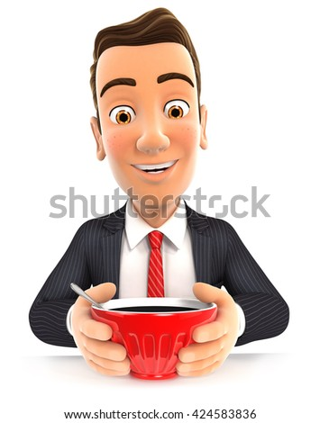 3d businessman drinking a cup of coffee, illustration with isolated white background